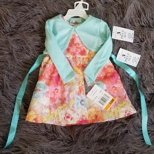 Rare Editions Floral & Mint Dress with Cardigan